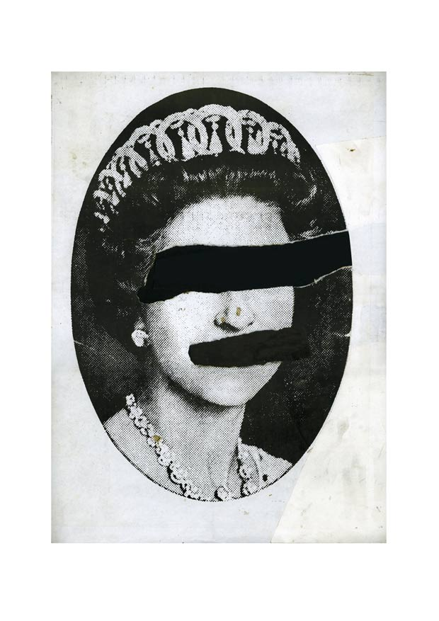 Jamie Reid 1977 Queen collage