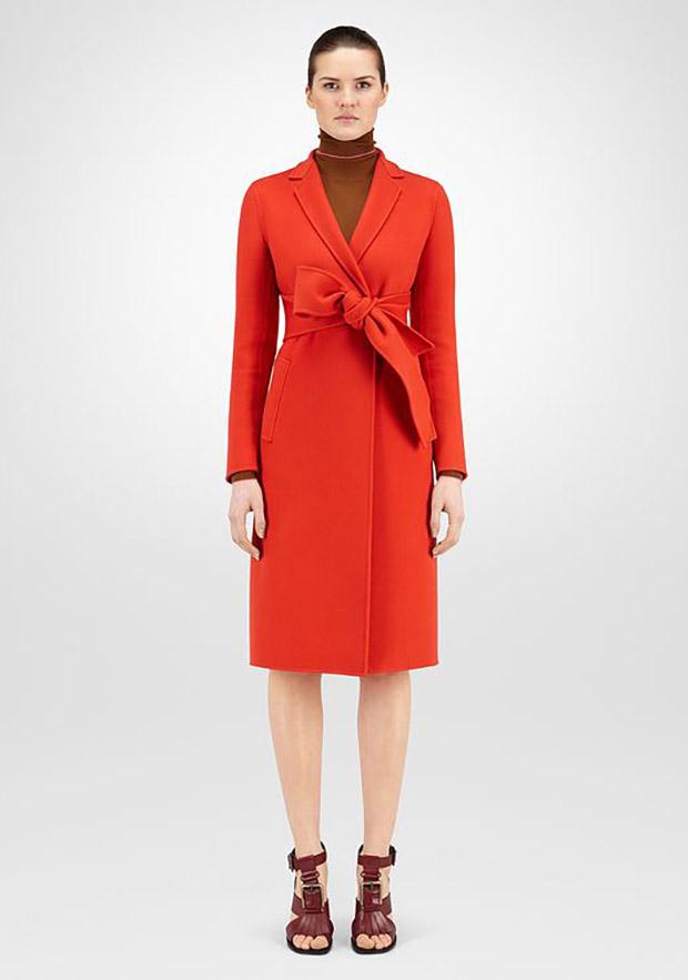 cappotto bottega veneta,cappotto rosso,cappotto di lana