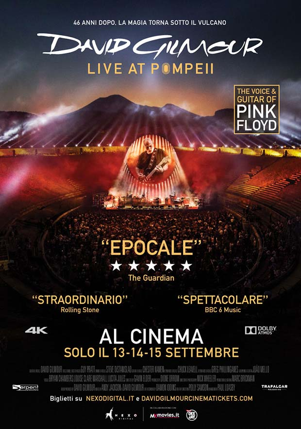 David Gilmour,cinema,film Pink Floyd,live pompei,spettacolo a pompei,musica dal vivo a pompei,concerto a pompei